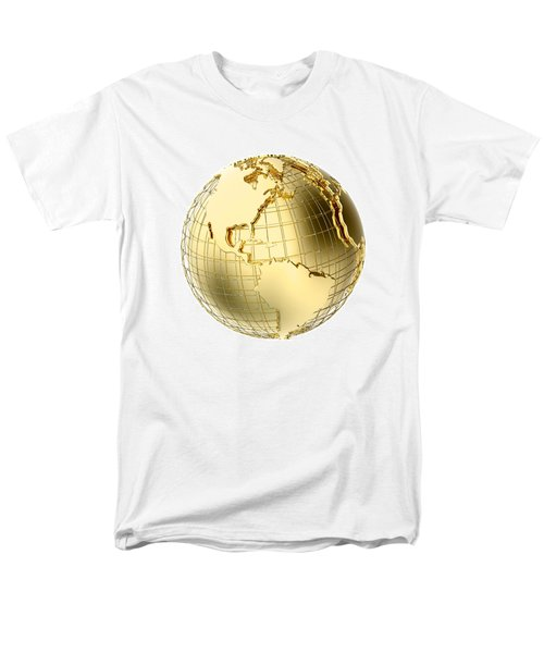 Earth In Gold Metal Isolated On White Men's T-Shirt  (Regular Fit) by Johan Swanepoel