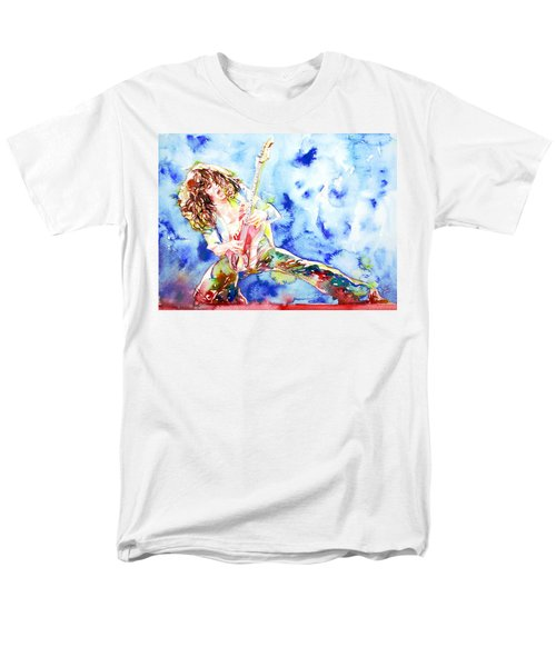 Eddie Van Halen Playing The Guitar.1 Watercolor Portrait Men's T-Shirt  (Regular Fit) by Fabrizio Cassetta