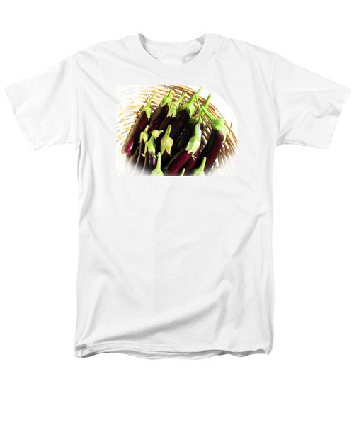 Men's T-Shirt  (Regular Fit) featuring the photograph Eggplants In A Basket by Tina M Wenger