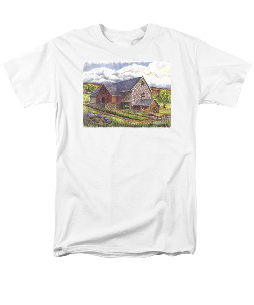 Men's T-Shirt  (Regular Fit) featuring the drawing A Scottish Farm  by Carol Wisniewski