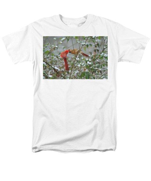 Men's T-Shirt  (Regular Fit) featuring the photograph Feeding Cardinals by Geraldine DeBoer