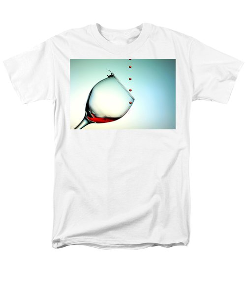 Fishing On A Glass Cup With Red Wine Droplets Little People On Food Men's T-Shirt  (Regular Fit) by Paul Ge