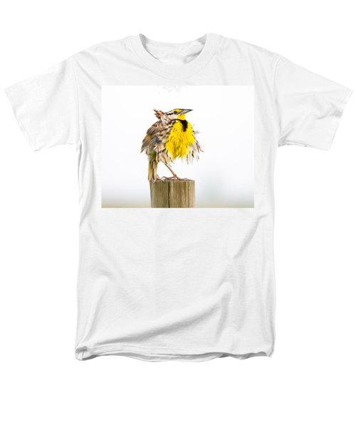 Flluffy Meadowlark Men's T-Shirt  (Regular Fit) by Bill Swindaman