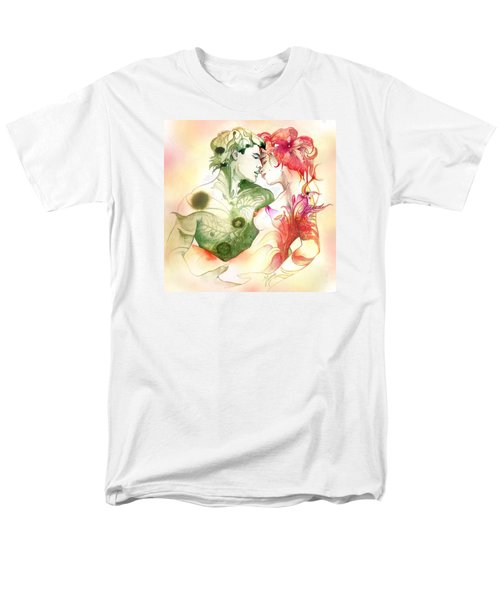 Men's T-Shirt  (Regular Fit) featuring the painting Flower And Leaf by Anna Ewa Miarczynska