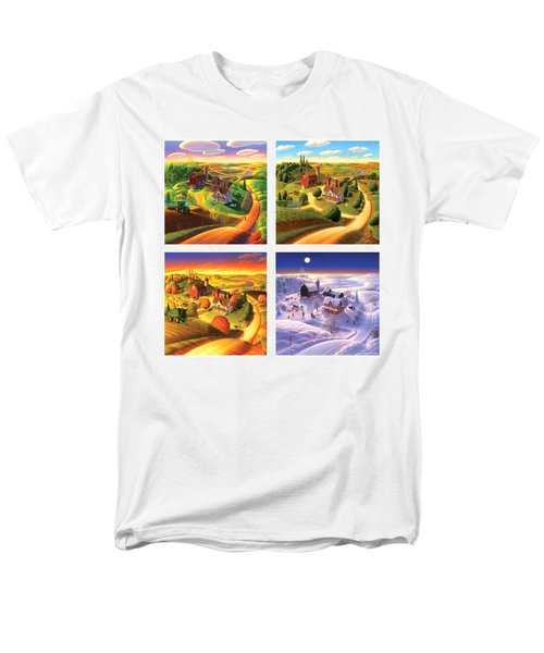 Four Seasons On The Farm Squared Men's T-Shirt  (Regular Fit) by Robin Moline