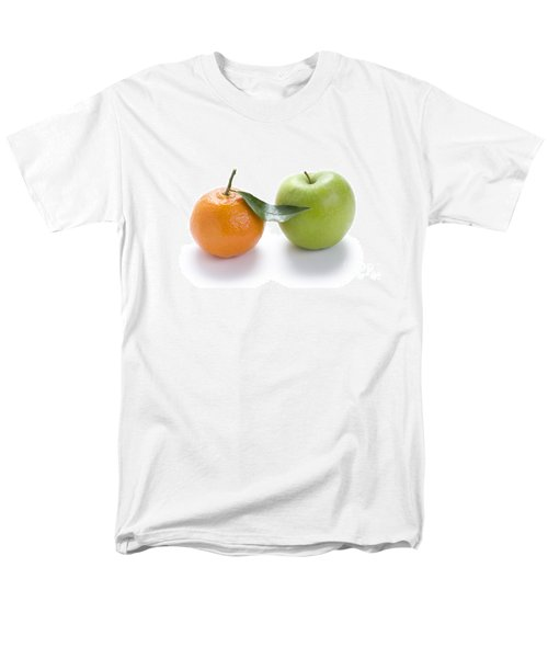Men's T-Shirt  (Regular Fit) featuring the photograph Fresh Apple And Orange On White by Lee Avison