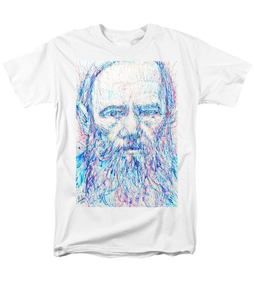 Fyodor Dostoyevsky / Colored Pens Portrait Men's T-Shirt  (Regular Fit) by Fabrizio Cassetta