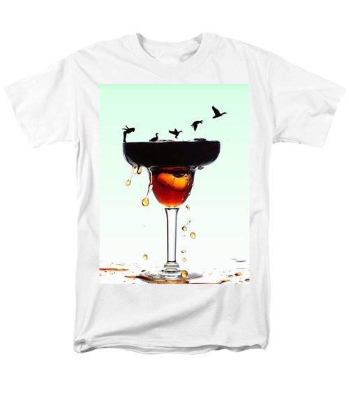 Girl And Geese Liquid Art Men's T-Shirt  (Regular Fit) by Paul Ge
