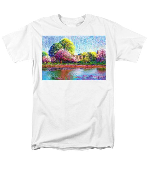 Men's T-Shirt  (Regular Fit) featuring the painting Glastonbury Abbey Lily Pool by Jane Small