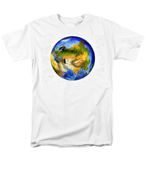 Men's T-Shirt  (Regular Fit) featuring the painting Globe World Map by Georgi Dimitrov