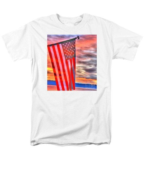 God Bless America Over Puget Sound Men's T-Shirt  (Regular Fit)