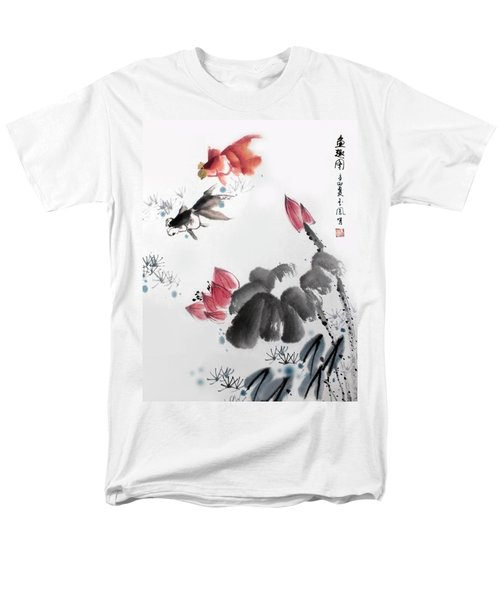 Men's T-Shirt  (Regular Fit) featuring the photograph Gold Fish In Lotus Pond by Yufeng Wang