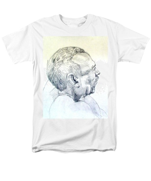 Men's T-Shirt  (Regular Fit) featuring the drawing Graphite Portrait Sketch Of A Man In Profile by Greta Corens