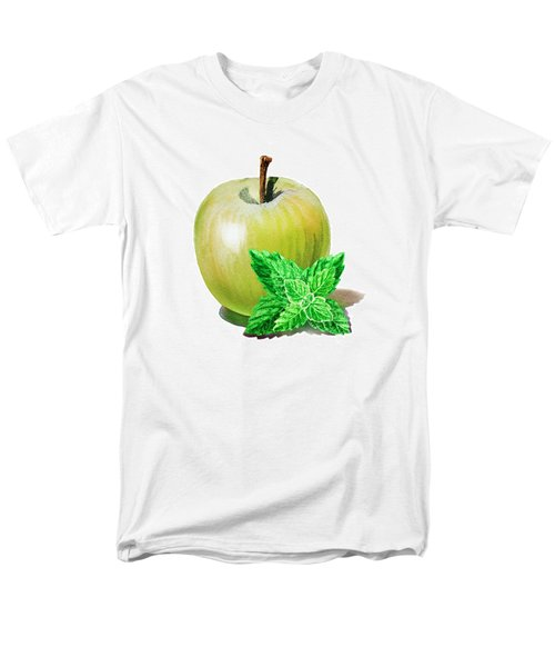 Men's T-Shirt  (Regular Fit) featuring the painting Green Apple And Mint by Irina Sztukowski