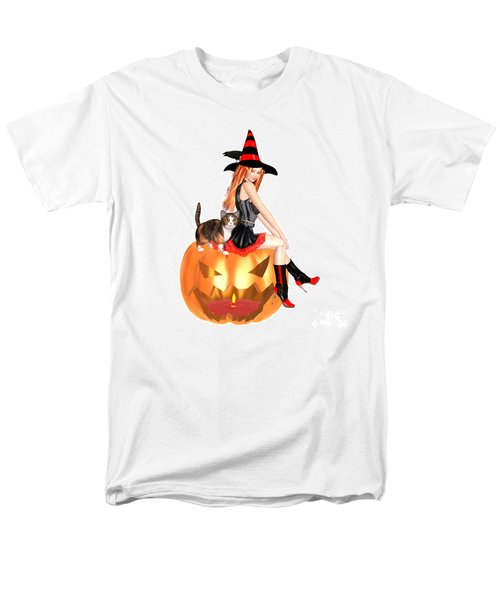 Halloween Witch Nicki With Kitten Men's T-Shirt  (Regular Fit) by Renate Janssen