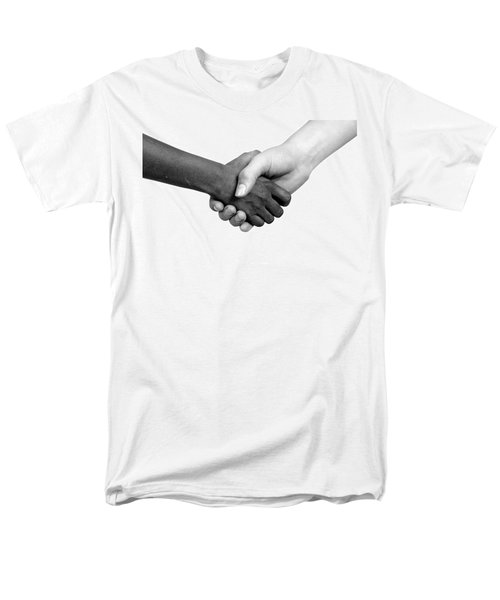 Handshake Black And White Men's T-Shirt  (Regular Fit) by Chevy Fleet
