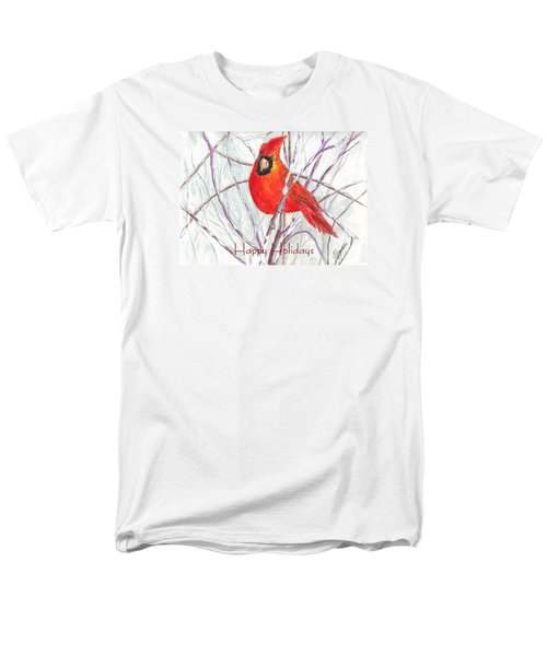 Happy Holidays Snow Cardinal Men's T-Shirt  (Regular Fit) by Carol Wisniewski