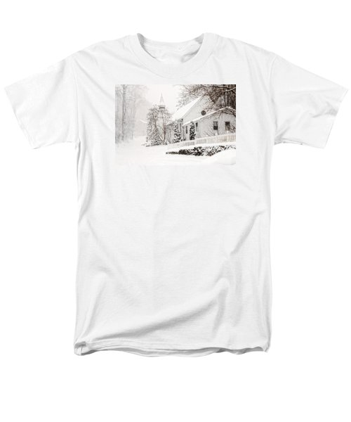 Men's T-Shirt  (Regular Fit) featuring the photograph Historic Church In Oella Maryland During A Blizzard by Vizual Studio