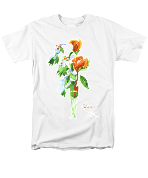 Holly With Red Roses In A Vase Men's T-Shirt  (Regular Fit) by Kip DeVore
