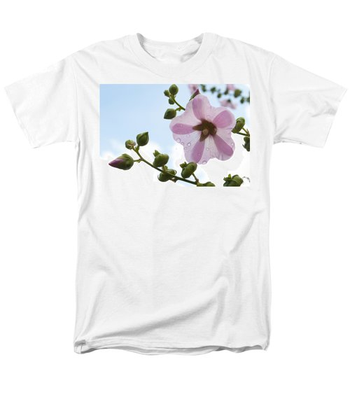 Men's T-Shirt  (Regular Fit) featuring the photograph Hollyhock With Raindrops by Lana Enderle