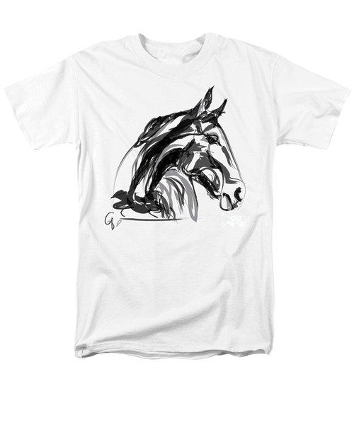 Horse- Apple -digi - Black And White Men's T-Shirt  (Regular Fit) by Go Van Kampen