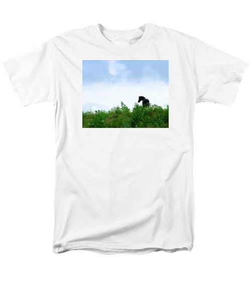 Men's T-Shirt  (Regular Fit) featuring the photograph Horse On The Hill by Joan Davis