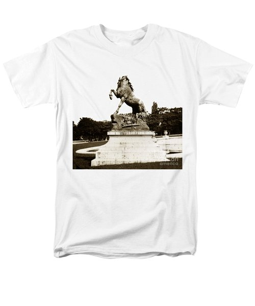 Men's T-Shirt  (Regular Fit) featuring the photograph Horse Sculpture Trocadero  Paris France 1900 Historical Photos by California Views Mr Pat Hathaway Archives