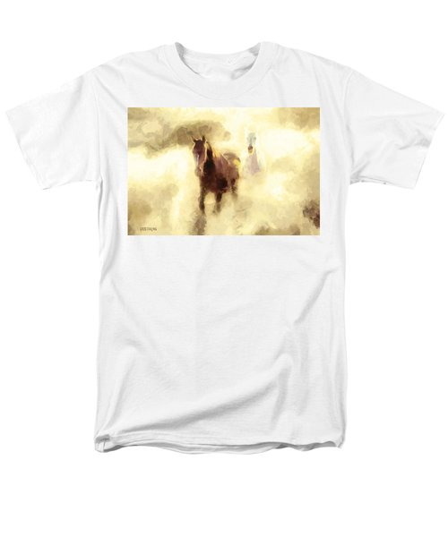 Men's T-Shirt  (Regular Fit) featuring the painting Horses Of The Mist by Greg Collins