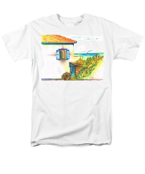 Men's T-Shirt  (Regular Fit) featuring the painting Greek Island Hydra- Home by Teresa White