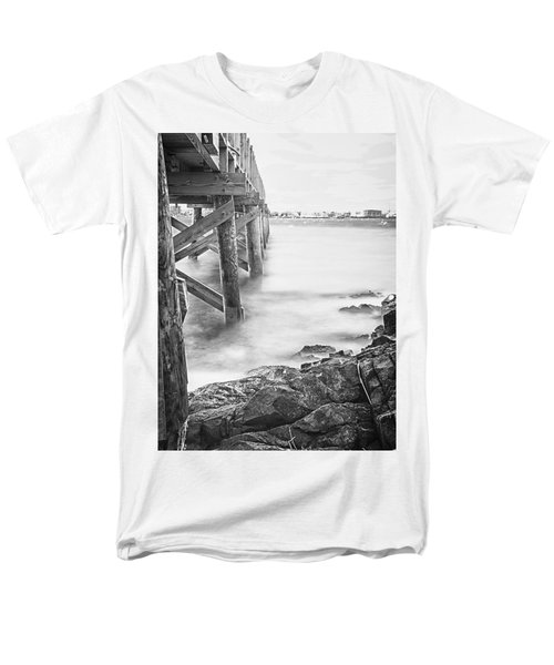 Infrared View Of Stormy Waves At Stramsky Wharf Men's T-Shirt  (Regular Fit) by Jeff Folger