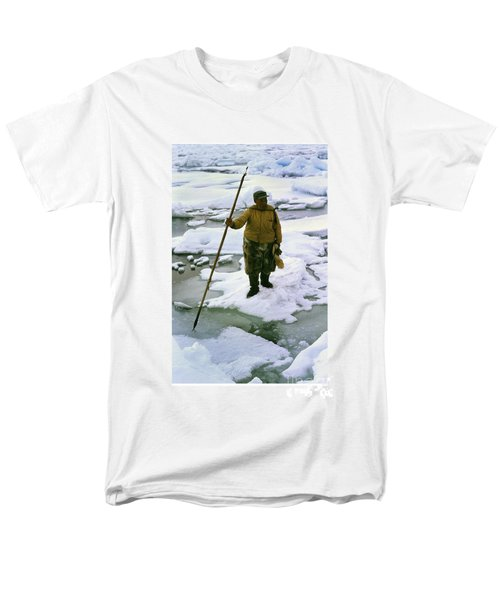 Men's T-Shirt  (Regular Fit) featuring the photograph Inuit Seal Hunter Barrow Alaska July 1969 by California Views Mr Pat Hathaway Archives