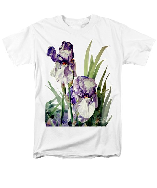 Blue-violet And White Picata Iris Selena Marie Men's T-Shirt  (Regular Fit) by Greta Corens