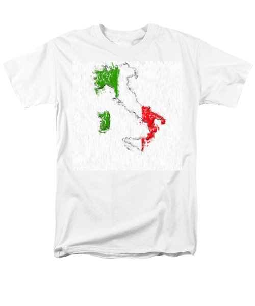 Italy Painted Flag Map Men's T-Shirt  (Regular Fit) by Antony McAulay