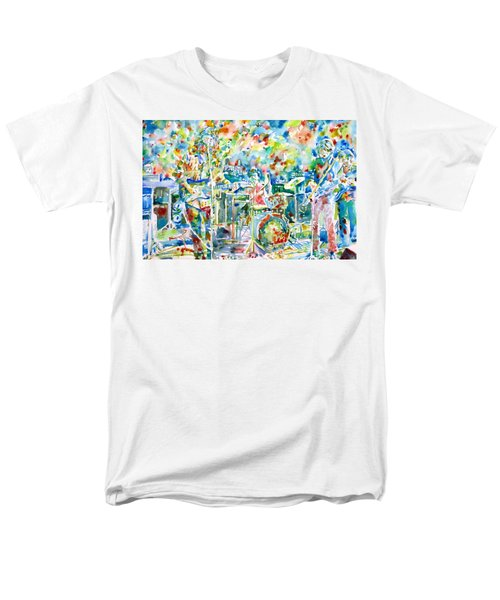 Jerry Garcia And The Grateful Dead Live Concert - Watercolor Portrait Men's T-Shirt  (Regular Fit) by Fabrizio Cassetta
