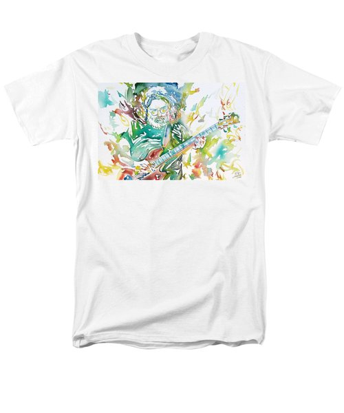 Jerry Garcia Playing The Guitar Watercolor Portrait.1 Men's T-Shirt  (Regular Fit) by Fabrizio Cassetta