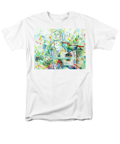 Kurt Cobain Playing The Guitar - Watercolor Portrait Men's T-Shirt  (Regular Fit) by Fabrizio Cassetta