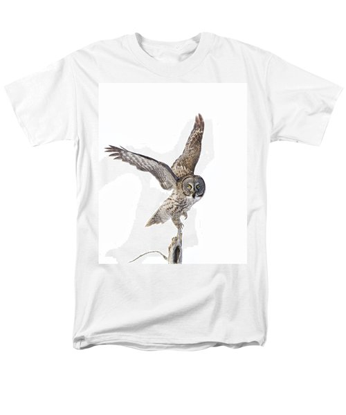 Lapland Owl On White Men's T-Shirt  (Regular Fit) by Mircea Costina Photography