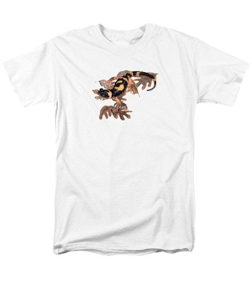Large Blotched Salamander On Oak Leaves Men's T-Shirt  (Regular Fit) by Cindy Hitchcock