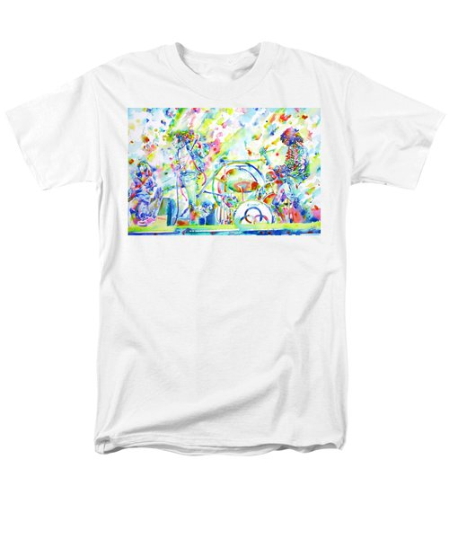 Led Zeppelin Live Concert - Watercolor Painting Men's T-Shirt  (Regular Fit) by Fabrizio Cassetta
