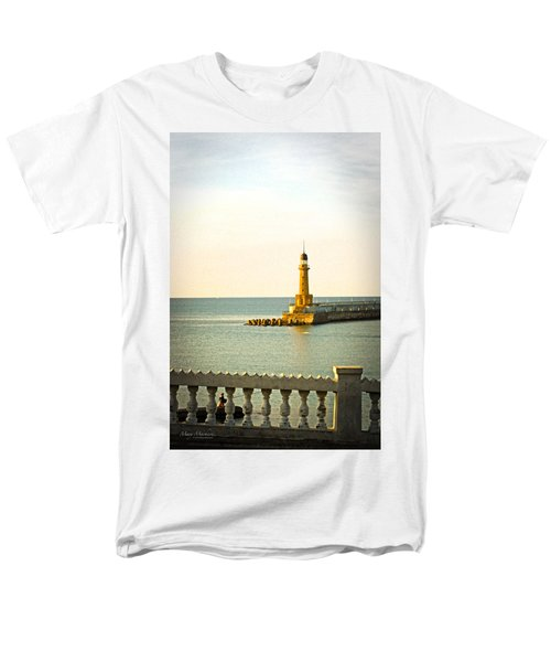 Lighthouse - Alexandria Egypt Men's T-Shirt  (Regular Fit) by Mary Machare