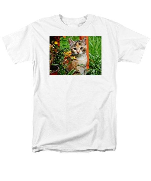 Men's T-Shirt  (Regular Fit) featuring the photograph Lily Garden Cat by VLee Watson