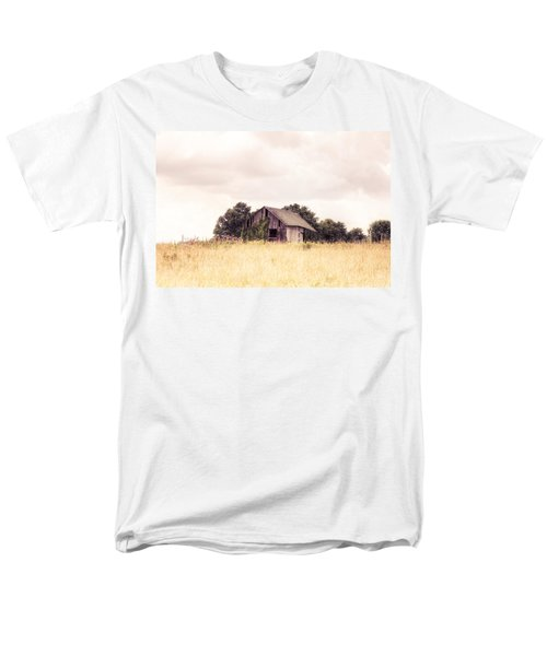 Men's T-Shirt  (Regular Fit) featuring the photograph Little Old Barn In A Field - Landscape  by Gary Heller