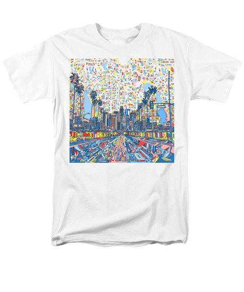 Los Angeles Skyline Abstract 3 Men's T-Shirt  (Regular Fit) by Bekim Art