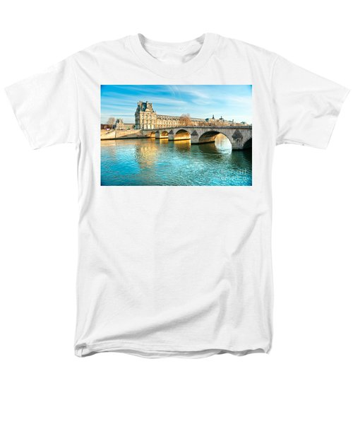 Louvre Museum And Pont Royal - Paris  Men's T-Shirt  (Regular Fit) by Luciano Mortula