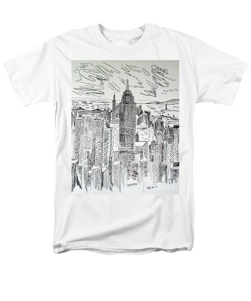 Men's T-Shirt  (Regular Fit) featuring the drawing Manhattan by Janice Rae Pariza