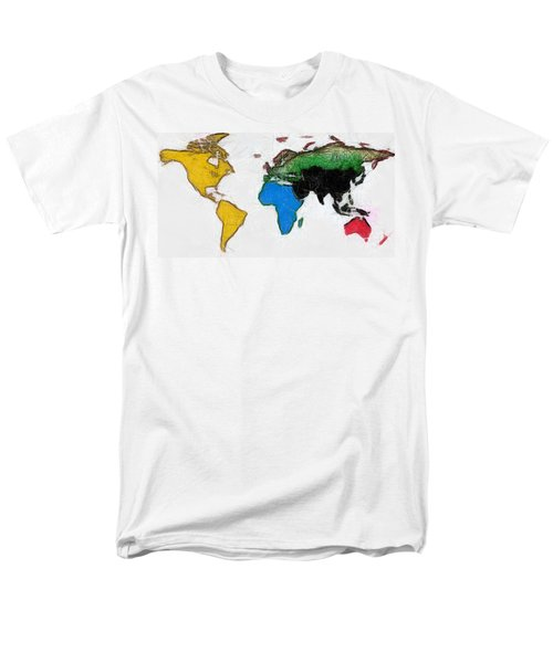 Men's T-Shirt  (Regular Fit) featuring the painting Map Digital Art World by Georgi Dimitrov