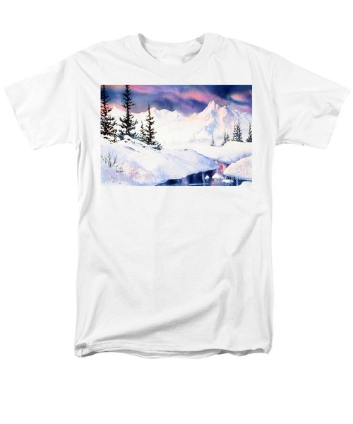 Men's T-Shirt  (Regular Fit) featuring the painting Matanuska Sunset Impression by Teresa Ascone