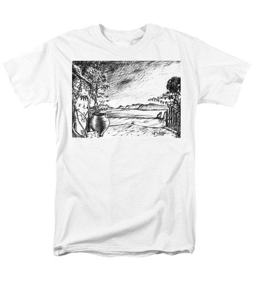 Men's T-Shirt  (Regular Fit) featuring the drawing Mediterranean Cat by Teresa White