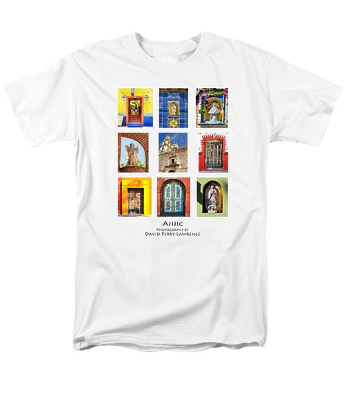 Men's T-Shirt  (Regular Fit) featuring the photograph Colorful Mexican Doors, Ajijic Mexico - Travel Photography By David Perry Lawrence by David Perry Lawrence