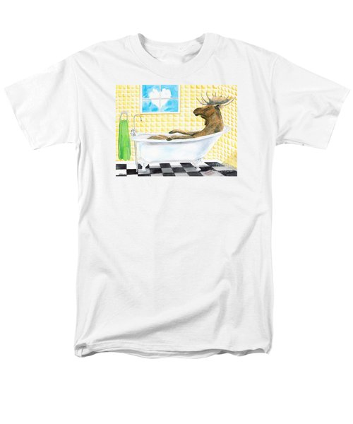 Men's T-Shirt  (Regular Fit) featuring the painting Moose Bath by LeAnne Sowa
